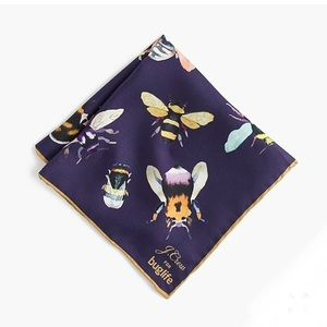 NWT J. Crew bees 100% silk 12x12 square